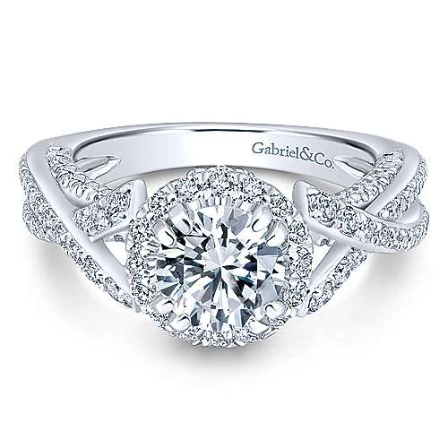 Gabriel - Riviera 14k White Gold Round Halo Engagement Ring