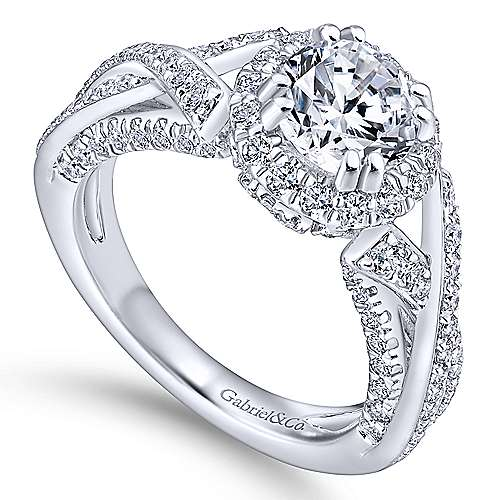 Riviera 14k White Gold Round Halo Engagement Ring