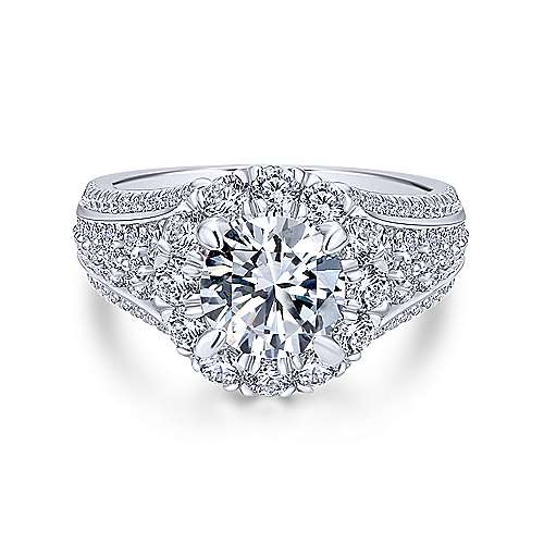 Gabriel - Rivington 18k White Gold Round Halo Engagement Ring
