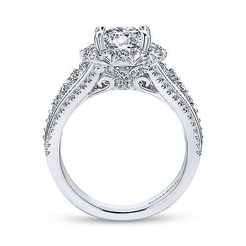 Rivington 18k White Gold Round Halo Engagement Ring angle 2