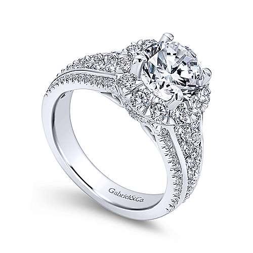 Rivington 18k White Gold Round Halo Engagement Ring