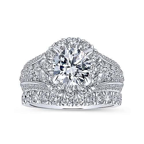 Rivington 18k White Gold Round Halo Engagement Ring angle 4