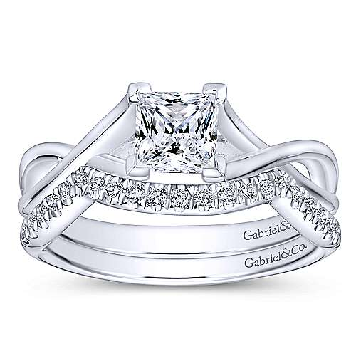 Robin 14k White Gold Princess Cut Solitaire Engagement Ring angle 4