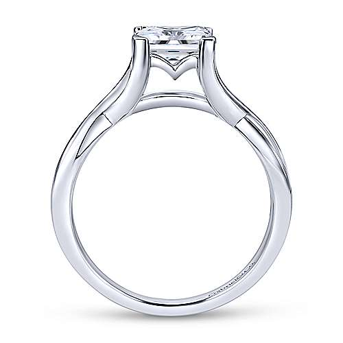 Robin 14k White Gold Princess Cut Solitaire Engagement Ring angle 2