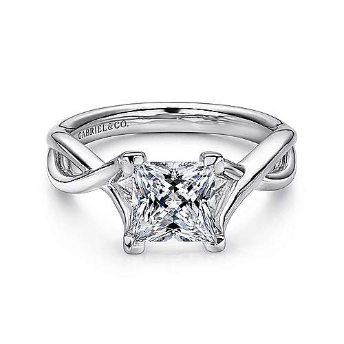 Gabriel - Robin 14k White Gold Princess Cut Solitaire Engagement Ring