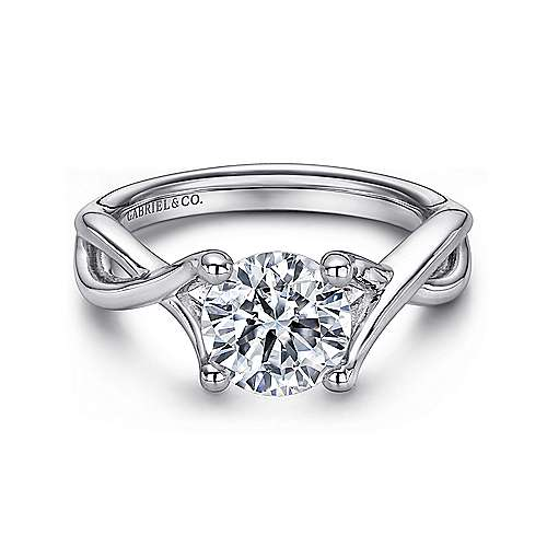 Gabriel - Robin 14k White Gold Round Solitaire Engagement Ring