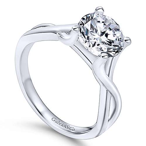 Robin 14k White Gold Round Solitaire Engagement Ring angle 3