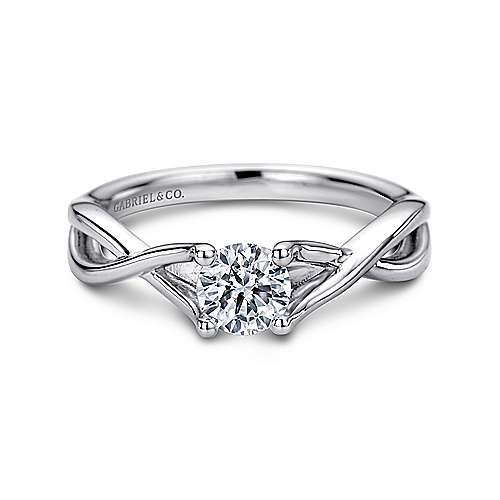 Robin 14k White Gold Round Solitaire Engagement Ring angle 1