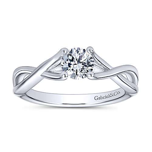 Robin 14k White Gold Round Solitaire Engagement Ring angle 5