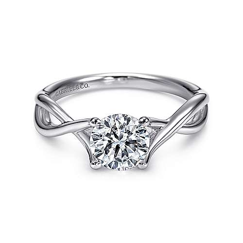 Robin 14k White Gold Round Twisted Engagement Ring
