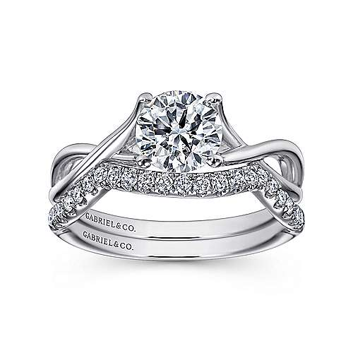 Robin 14k White Gold Round Twisted Engagement Ring angle 4