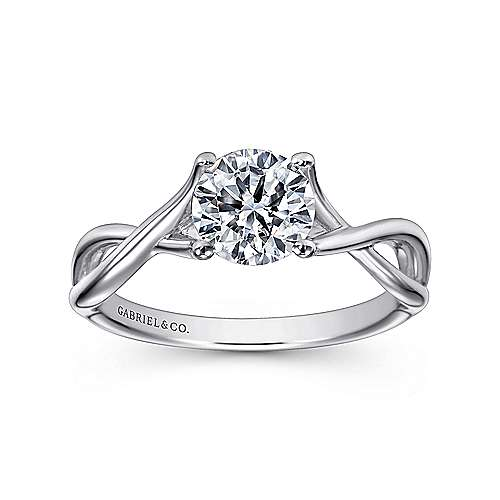 Robin 14k White Gold Round Twisted Engagement Ring angle 5