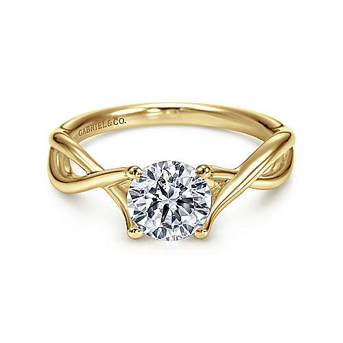 Gabriel - Robin 14k Yellow Gold Round Twisted Engagement Ring