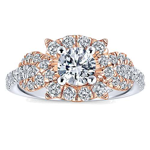 Robinson 14k White And Rose Gold Round Halo Engagement Ring