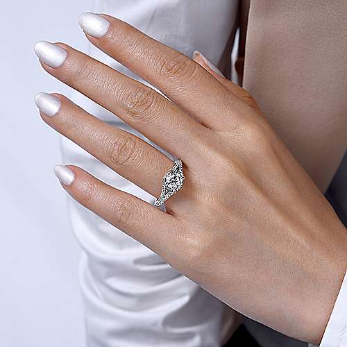 Rochelle 14k White And Rose Gold Round Split Shank Engagement Ring angle 6