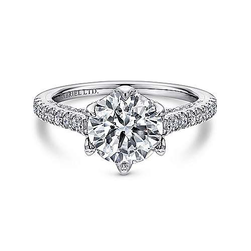 Gabriel - Rocio 18k White Gold Round Straight Engagement Ring