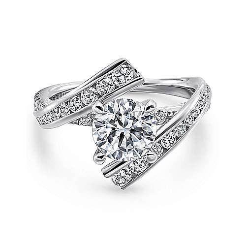 Gabriel - Rogue 14k White Gold Round Bypass Engagement Ring