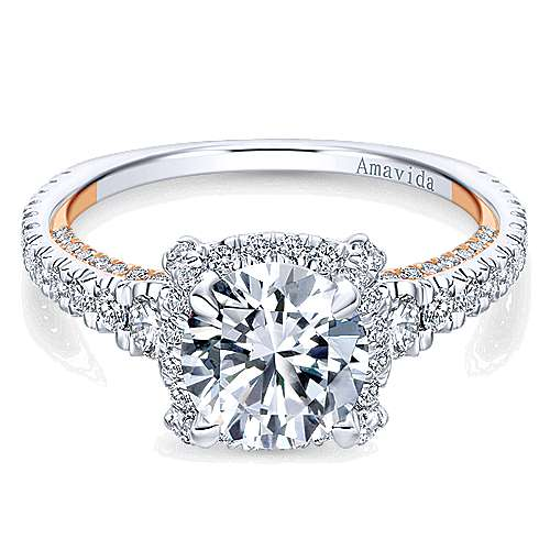 Romance 18k White And Rose Gold Round Halo Engagement Ring angle 1