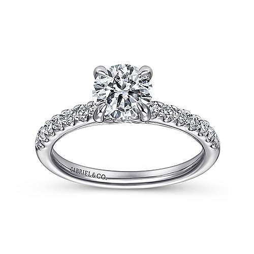 Ronan 18k White Gold Round Straight Engagement Ring angle 5