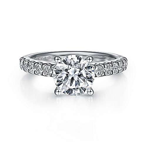 Ronan 18k White Gold Round Straight Engagement Ring angle 1