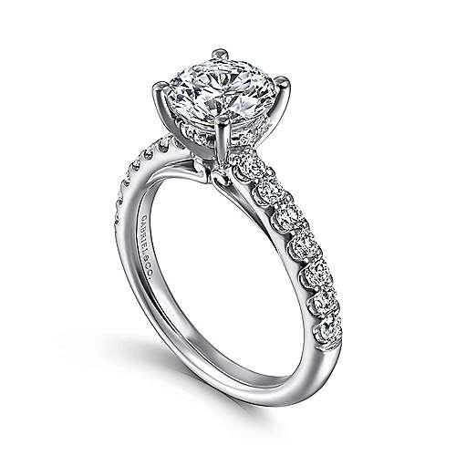 Ronan 18k White Gold Round Straight Engagement Ring