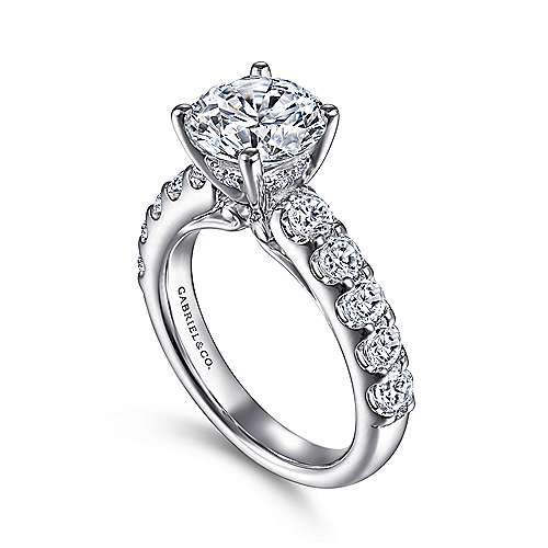 Ronan 18k White Gold Round Straight Engagement Ring