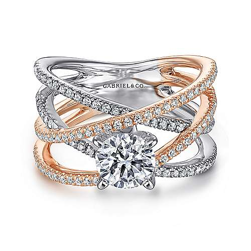 Ronny 14k White And Rose Gold Round Twisted Engagement Ring