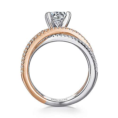 Ronny 14k White And Rose Gold Round Twisted Engagement Ring angle 2