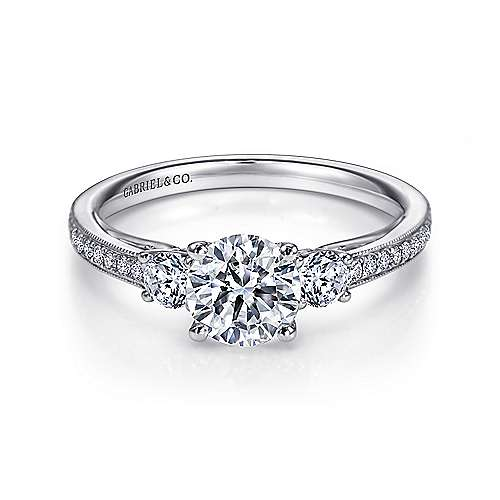 Gabriel - Rory 14k White Gold Round 3 Stones Engagement Ring