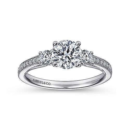 Rory 14k White Gold Round 3 Stones Engagement Ring angle 5