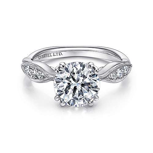 Gabriel - Rosa 18k White Gold Round Straight Engagement Ring