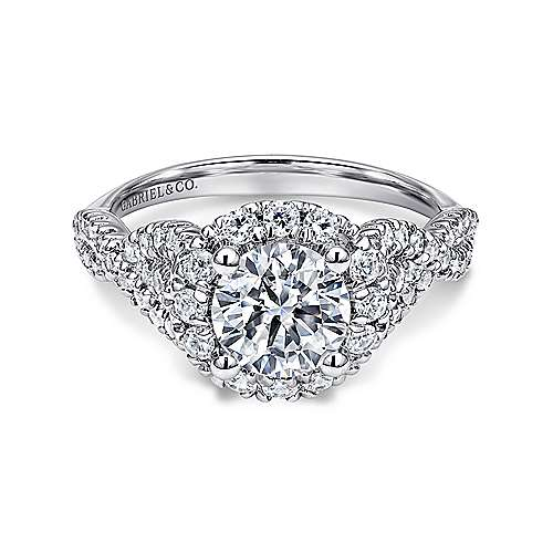 Gabriel - Rosalee 14k White Gold Round Halo Engagement Ring