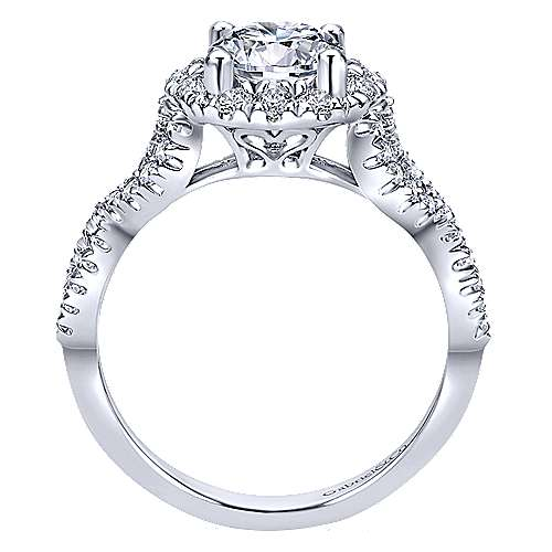 Rosalee 14k White Gold Round Halo Engagement Ring angle 2