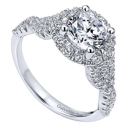 Rosalee 14k White Gold Round Halo Engagement Ring angle 3