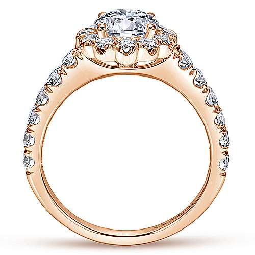 Rosalyn 14k Pink Gold Round Halo Engagement Ring angle 2