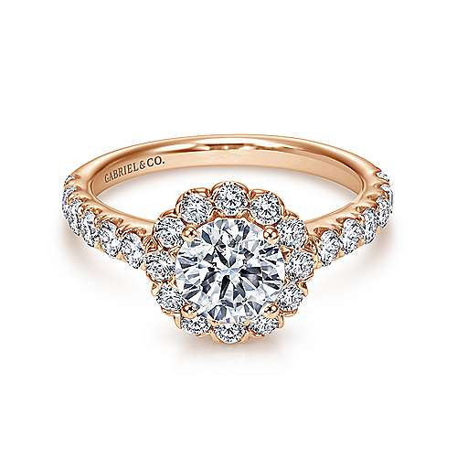 Rosalyn 14k Rose Gold Round Halo Engagement Ring angle 1