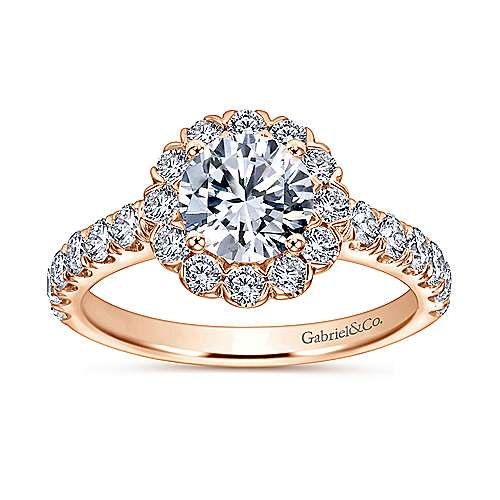 Rosalyn 14k Rose Gold Round Halo Engagement Ring angle 5