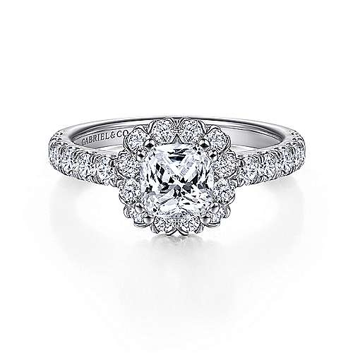 Gabriel - Rosalyn 14k White Gold Cushion Cut Halo Engagement Ring