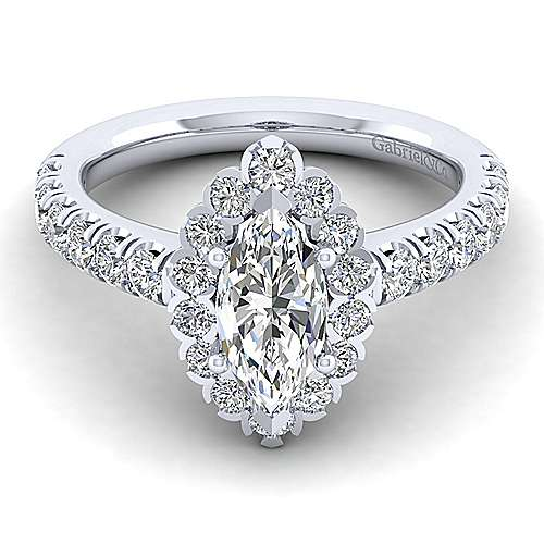 Gabriel - Rosalyn 14k White Gold Marquise  Halo Engagement Ring