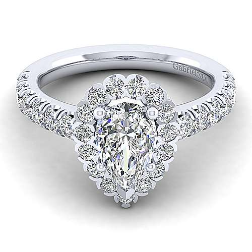 Gabriel - Rosalyn 14k White Gold Pear Shape Halo Engagement Ring