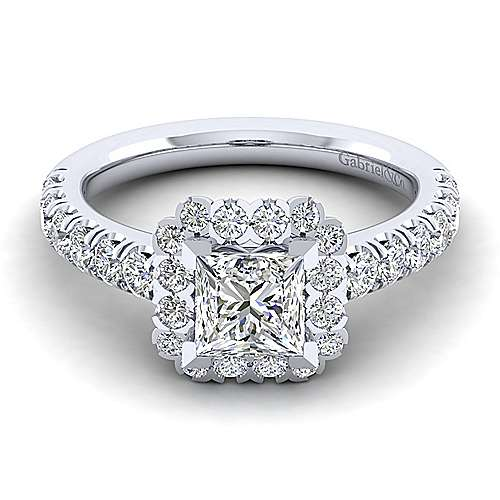 Gabriel - Rosalyn 14k White Gold Princess Cut Halo Engagement Ring