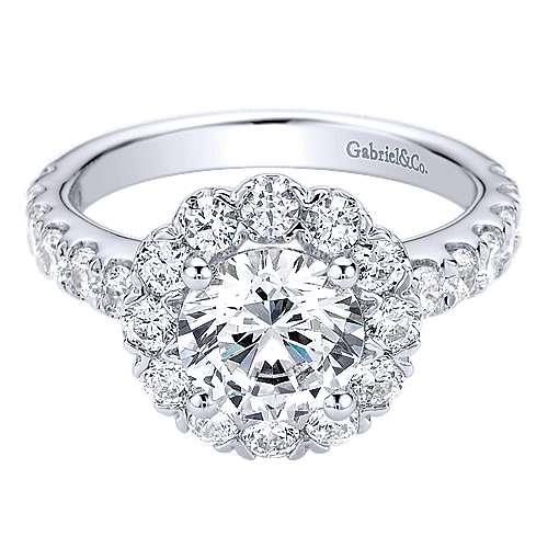 Rosalyn 14k White Gold Round Halo Engagement Ring angle 1