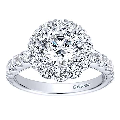 Rosalyn 14k White Gold Round Halo Engagement Ring angle 5
