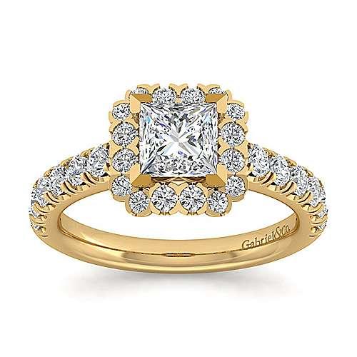 Rosalyn 14k Yellow Gold Princess Cut Halo Engagement Ring angle 5