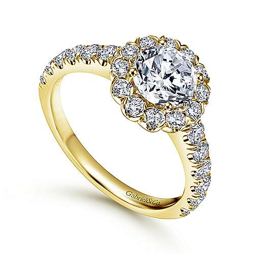 Rosalyn 14k Yellow Gold Round Halo Engagement Ring angle 3