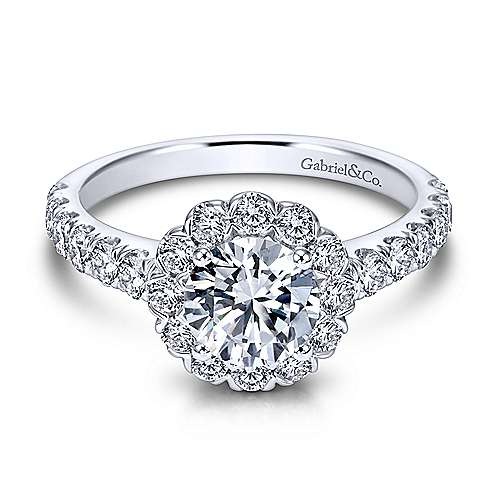 Gabriel - Rosalyn 18k White Gold Round Halo Engagement Ring