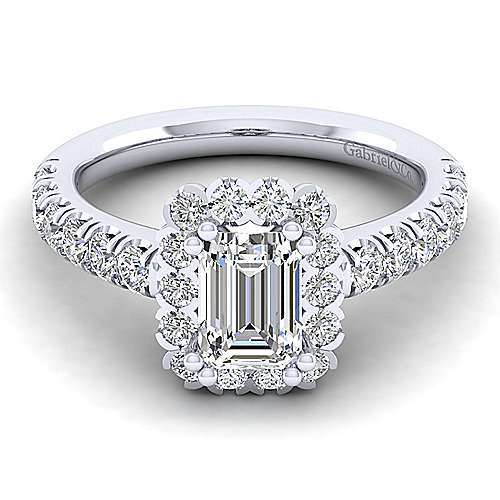 Rosalyn Platinum Emerald Cut Halo Engagement Ring angle 1