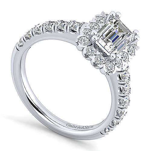 Rosalyn Platinum Emerald Cut Halo Engagement Ring angle 3