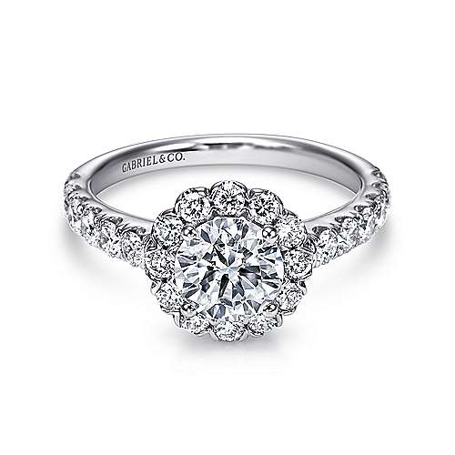 Gabriel - Rosalyn Platinum Round Halo Engagement Ring