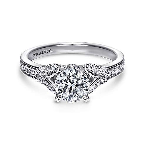 Gabriel - Rosamund 14k White Gold Round Straight Engagement Ring